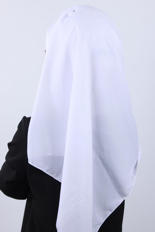 4 Drapeli Krep Şal Beyaz