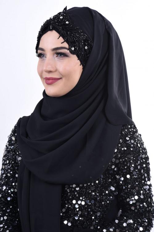 Jewel Crown Taşlı Şal Siyah