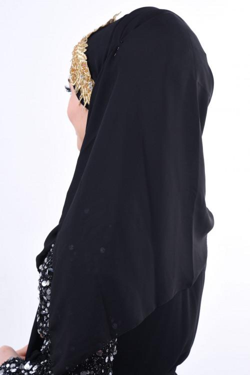 Jewel Crown Taşlı Şal Siyah Gold
