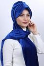 Kadife Şallı Şapka Bone Saks Mavisi