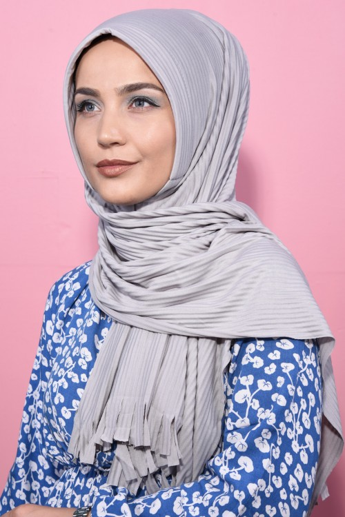 Pliseli Hijab Sal Gumus Gri