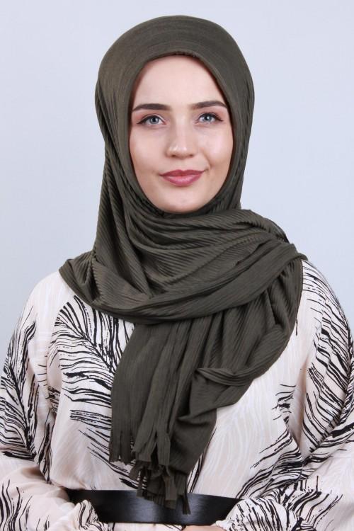 Pliseli Hijab Şal Haki Yeşili