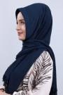 Pliseli Hijab Şal Lacivert