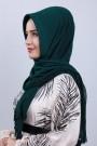 Pliseli Hijab Şal Zümrüt Yeşili