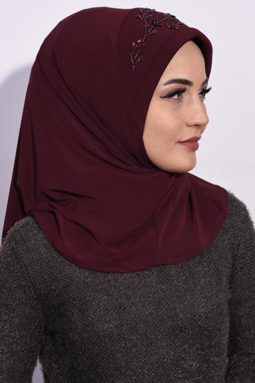 Pratik Pullu Hijab Bordo