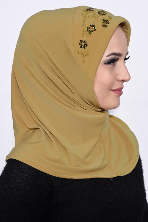 Pratik Pullu Hijab Hardal Sarısı