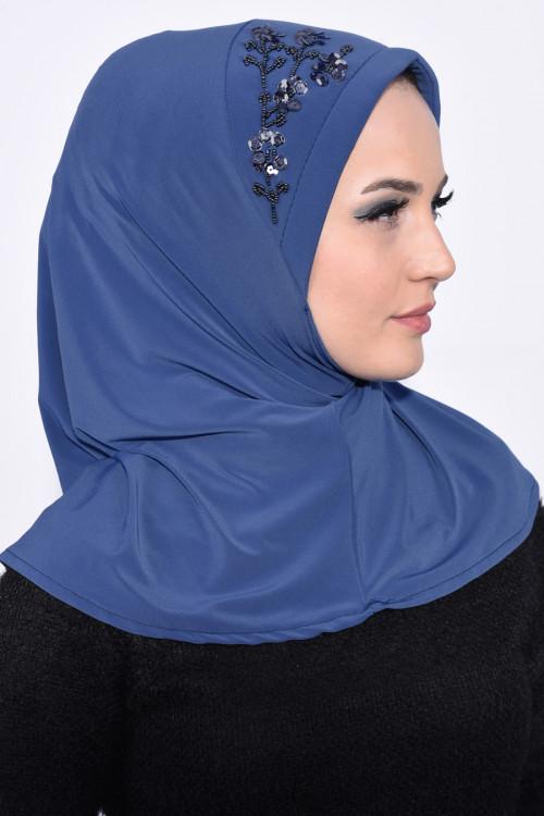 Pratik Pullu Hijab İndigo