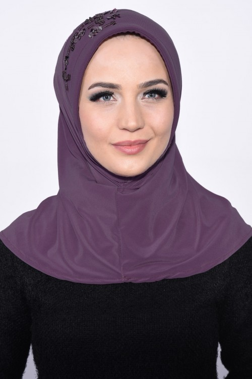 Pratik Pullu Hijab Koyu Gül Kurusu