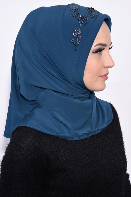 Pratik Pullu Hijab Petrol Mavisi
