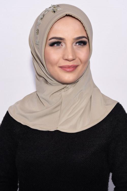 Pratik Pullu Hijab Taş Rengi