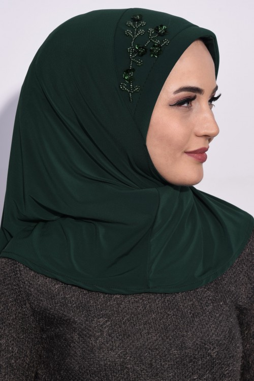 Pratik Pullu Hijab Zümrüt Yeşili