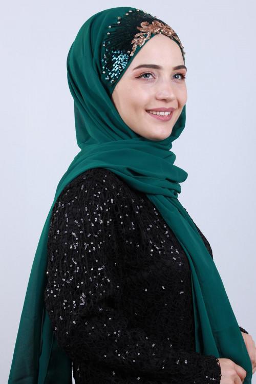 Tasarım Prenses Şal Zümrüt Yeşili