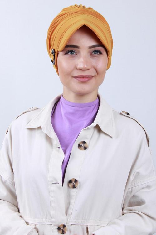 Tokalı Şapka Bone Hardal Sarısı